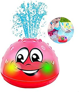 QINGBAO Baby Bath Toys,Whale Bath Toys for Toddlers ,Light Up Bath Toys with LED Light, Whale Spray Water Bath Toy, Water Spray Toy with LED Light,Gifts for Boys Girls (Pink Without Base)