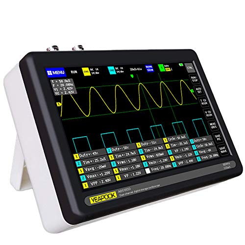 "YEAPOOK Handheld Digital Tablet Oscilloscope Portable Storage Oscilloscope Kit with 2 Channels, 100Mhz Bandwidth, 1GSa/s Sampling Rate 7"" TFT LCD Touch Screen"