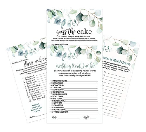 Greenery Bridal Shower Games Bundle (25 Players) Activities Included Word Scramble – Guess the Cake – Wedding Naming – Famous Couples Trivia – Rustic Engagement Party