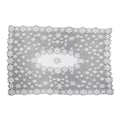 TEBI Manteles de fiesta rectangulares blancos copos de nieve modernos de Navidad manteles de comedor o decoración de cocina