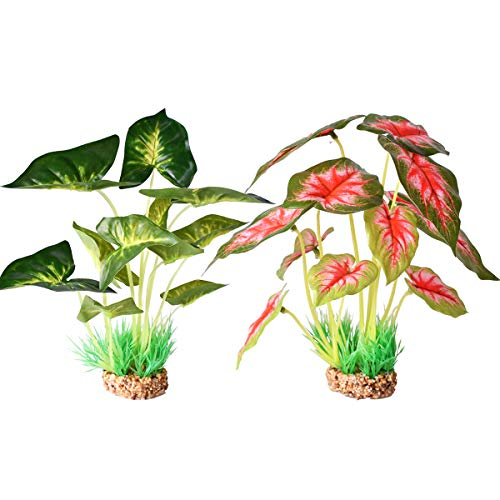 Aquarium Plants Decoration, Artificial Plants for Fish Tank, 2 Pack (10 inches Height-Green/Red)