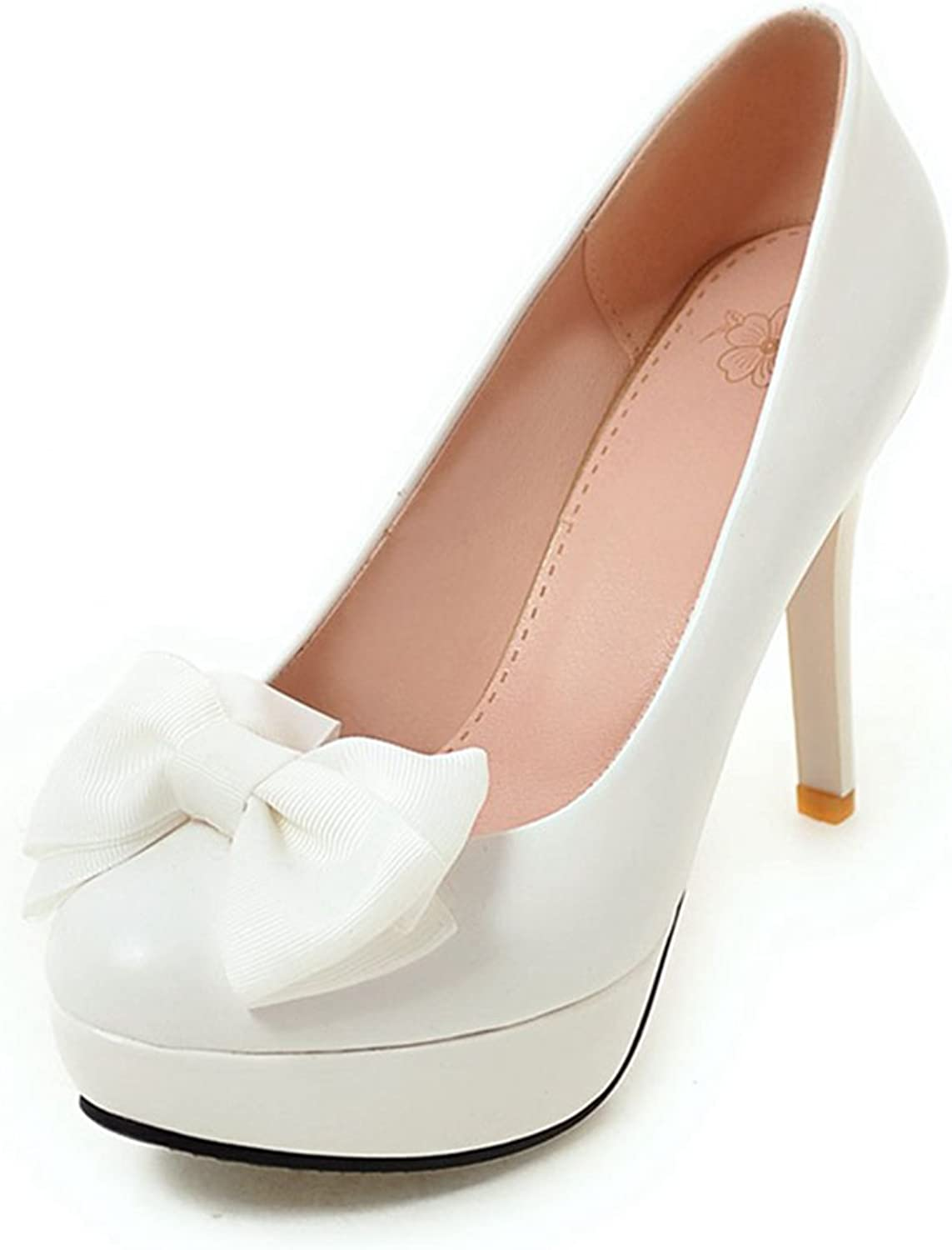 York Zhu Women Pumps, Elegant Candy color Butterfly-Knot Round Toe Spike Heel shoes