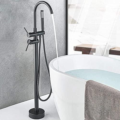 Huin Grifo de baño independiente Mezclador de ducha Grifo de baño de dos manijas Grifo de baño con caño giratorio con grifería de latón para lavabo de ducha de mano