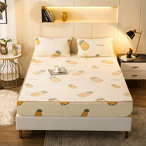 Extra Deep Fitted Sheet Soft Velvety Bed Cover Kids Bedding Comfortable Breathable Decorative Bottom Sheets With Elastic Edge Cute Adorable Mattress Pretector Pineapple Twin XL