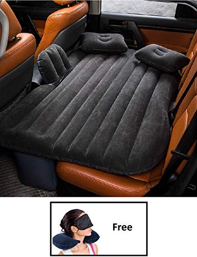 ShopHere RAF Car Travel Inflatable Car Bed Mattress with Two Air Pillows, Car Air Pump (Multicolor)