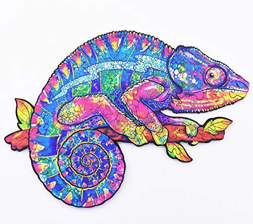 Rompecabezas de Madera | Rompecabezas de Animales de Madera de camaleón de Forma única | Puzzle Animales para Adultos y Niños (C)