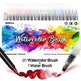 Amteker 20 Stylo Aquarelle + 1 Aqua Brush - Feutre Coloriage Feutre Alcool Feutres Pinceaux Brush...
