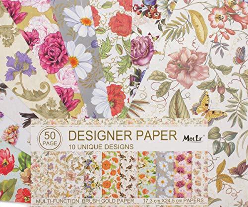 50 Hojas 10 de la Naturaleza Única de Flores Diseños de Scrapbooking Papel...