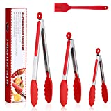 Pinze da Cucina 3 Pack, TAOPE Set di Pinze da Buffet in Acciaio Inox e Silicone(7 e 9 e 12 Pollici),...