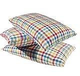 takiyawala Cotton Fabric with Fresh White Cotton Filling Medium Hard Sleeping Pillow for Bed 16 x 25 Inch Pack of 3