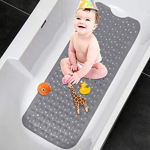 TOPSEAS Alfombra de bañera Antideslizante,Alfombra Banera Antideslizante,Extralargo con 200 Potentes Ventosas,Antibacterial,Resistente al Moho 100 * 40cm(Gris)