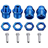 4-Pack 12mm to 17mm Wheel Hex Hub Adapter Extension Conversion 15mm Offset Extension for 1/10 RC Car Upgrade 1/8 Tires (Blue)