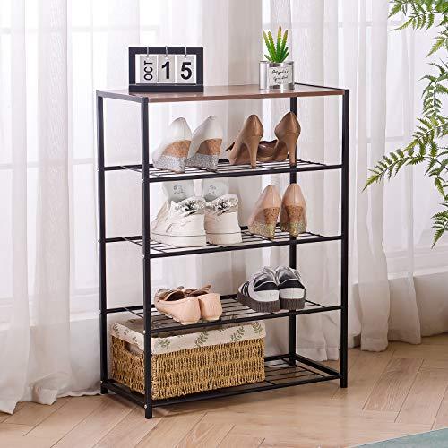 Amazon Brand-Umi Estante Organizador de Zapatos Grande de Metal + Madera de 5 Niveles para 12-15 Pares, para el Pasillo, Estructura Simple, Estable, Marrón Rústico y Negro