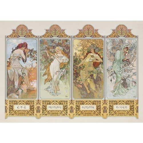 Clementoni 39177.6 Jigsaw Puzzle 1,000 Pieces 'The Four Seasons' by Alphonse Mucha by Clementoni