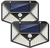 SZCLIMAX Luces solares para exteriores 100 LED, luz de seguridad con sensor de movimiento humano solar, Luces solares de pared 270 con energía solar, resistente al agua, con 3 modos para jardín