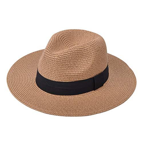 DRESHOW Femme Homme Chapeau de Paille Panama Chapeau Été Large Bord Chapeau de Soleil Anti-UV pour Plage Voyage Chapeau de Soleil