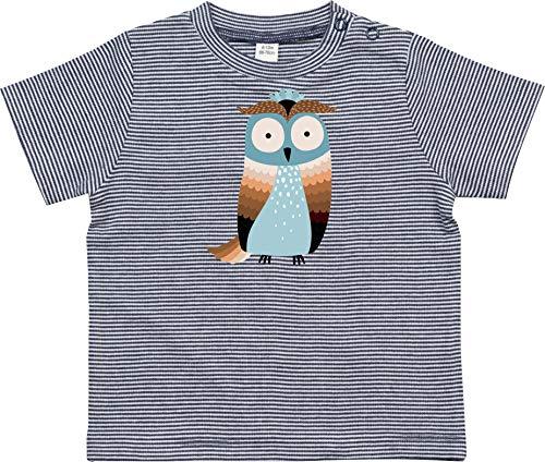 Kleckerliese - Camiseta de manga corta para bebé, diseño de búhos Azul marino. 3-6 Meses