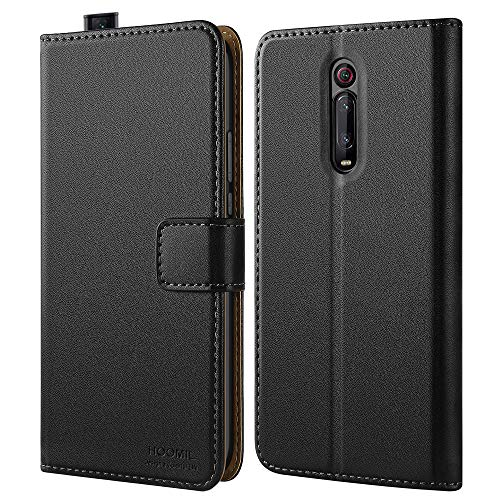 HOOMIL Handyhülle für Xiaomi Mi 9T Hülle, Xiaomi Mi 9T Pro Hülle, Premium PU Leder Flip Schutzhülle für Xiaomi Mi 9T/Mi 9T Pro Tasche (Schwarz)