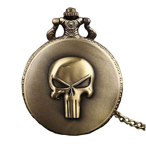 Aruie - Reloj de bolsillo con diseño de calavera y números romanos, cuarzo, vintage, punk, biker, bronce, para hombre y mujer