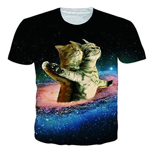 RAISEVERN Camiseta para Hombre para Hombre Camiseta de Manga Corta Gatos Inteligentes Camiseta gráfica 3D Pullover Tops