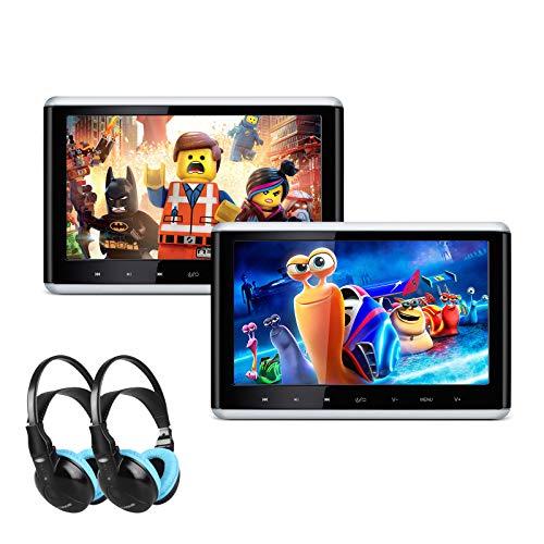 XTRONS Lot de 2 lecteurs DVD portables de voiture de 25,4 cm avec écran tactile numérique HD TFT écran tactile détachable avec port HDMI pour voiture et utilisation domestique 2 casques IR inclus