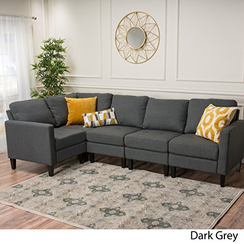 Christopher Knight Home 300121 Carolina Dark Grey Fabric Sectional Couch,