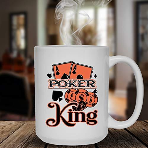 Poker King Mug, Poker Ceramic Mug, White Coffee Mug 15 oz