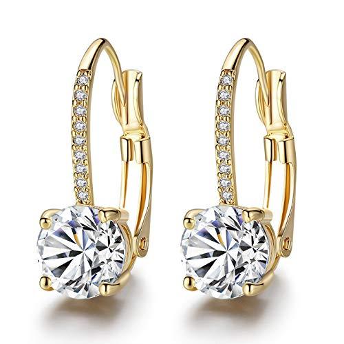 Orecchini a corona oro micro intarsiato quattro artigli rotondi di diamante orecchini semplici eBay 8*20mm e Ottone, colore: Diamanti bianchi su oro, cod. VIPI99581201