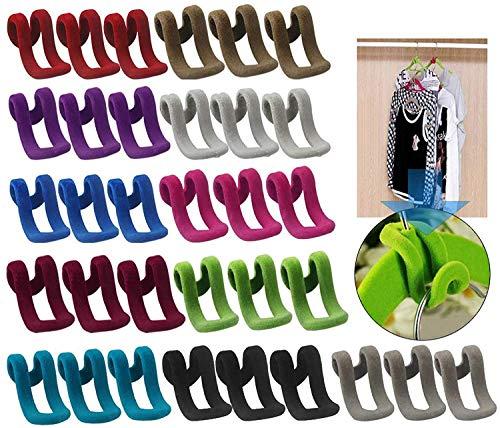 25 multifunktionale Haken, magische Kleiderbügel, platzsparendes Zubehör, beflockte Mini-Kleiderbügel, rutschfeste Kleiderbügel, Wasserfall-Haken, leicht zu organisieren, mit Kleidung