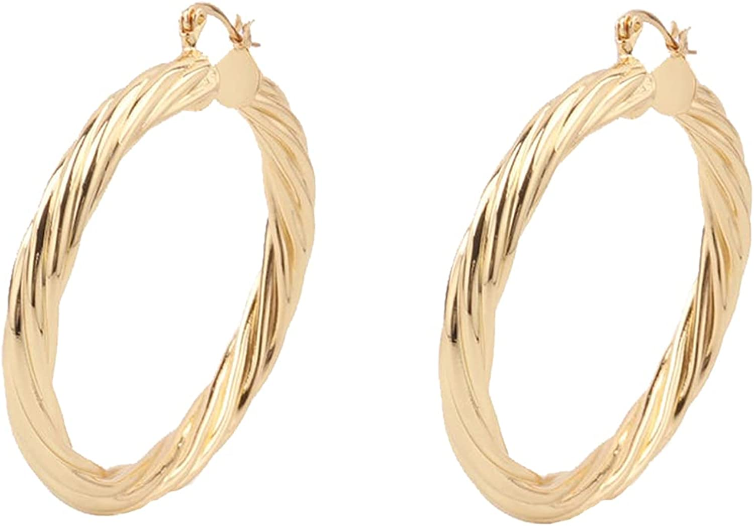 Custom Handmade 1 Pair Twisted 55mm 18kt Gold Filled Round Hoops Earrings, Minimal Everyday Style Craftsmen Made Wholesale Bulk Factory