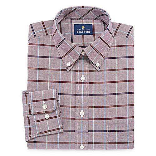 Stafford Regular Travel Oxford Mens Button Down Collar Long Sleeve Wrinkle Free Stretch Dress Shirt (Burg Multi Window, 17.5/34-35)
