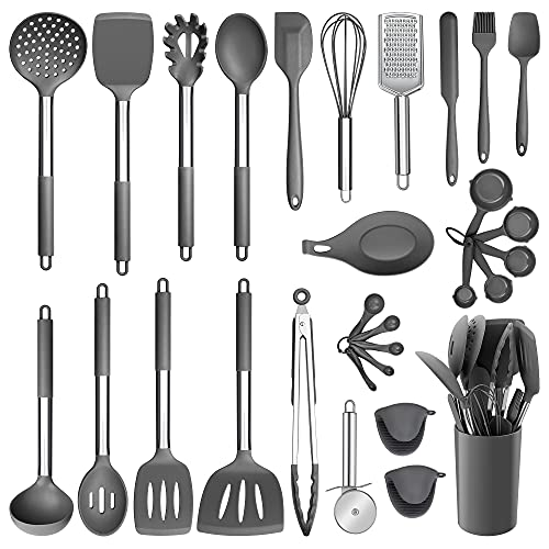 Silicone Kitchen Utensils Set, E-far 30-Piece Cooking Utensils Set with Holder, Heat Resistant Kitchen Spatulas Turner Tong Spoon Whisk Ladle for Nonstick Cookware, Stainless Steel Handle (Gray)