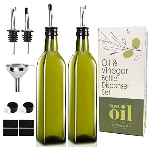 PANENDIANO Olivenöl Spender Flasche 2PCS 500ML mit Ausgieße Speiseöl Essig Messspender Set mit Trichter für Küche Grill Pasta Salate und Backen