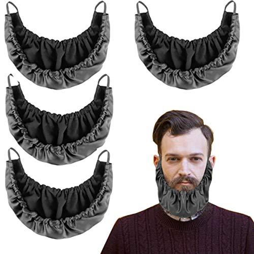 4 Pcs Beard Bandana, Silk Beard Covers for Men, Mens Bedtime Bib Adjustable Double Layer Facial Beard Apron Guard Bonnet Rag Beard Guard Cover, Beard Gains (Black)