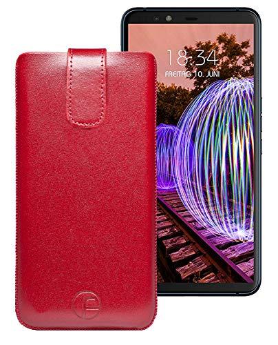 Favory Original Etui Tasche für JVC J20 Leder Etui Handytasche Ledertasche Schutzhülle Hülle Hülle Lasche mit Rückzugfunktion* in rot
