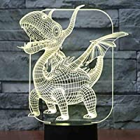 3D Ledナイトライト7色の翼竜恐竜家の装飾ランプ用ライト驚くべき視覚化目の錯覚リモコン
