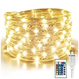 SALKING RGBW 16.4ft 192 LED Rope Lights, Flexible RGB Strip Light, Multicolor,Waterproof Tube Light for Indoor Outdoor Use, Connectable Led Lights for Bedroom, 16 Colors Christmas Party Lights