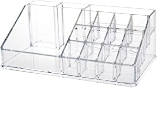 INOVERA Plastic 16 Compartment Cosmetic Makeup Lipstick Storage Organizer Box ,Transparent ( 21.2L x 12.5W x 7.8H)