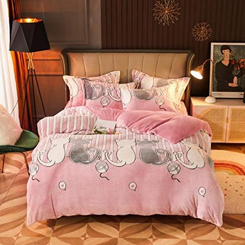 juego de ropa de cama 135x190-Juego de cuatro piezas de vellón de nieve de invierno ropa de cama de terciopelo de doble cara cama individual individual king funda nórdica doble funda de almohada rega