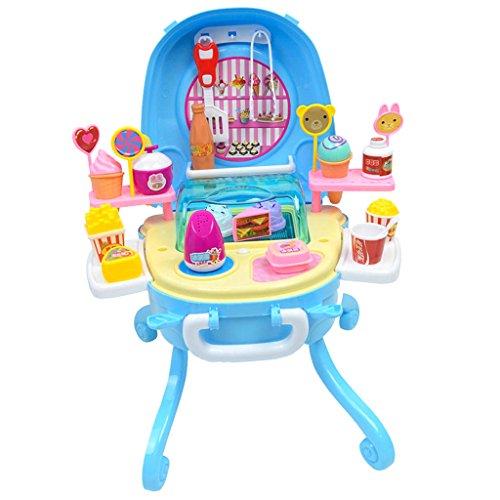 F Fityle Juego de Heladería para Niños (47 Piezas) Taburete Plegable - Sweet Shop Pretend Play