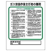 【356-15】作業主任者職務板 ガス溶接・アセチレン