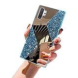 NSSTAR Compatible avec Samsung Galaxy Note 10 Plus Miroir Coque Élégant Mode Strass Diamant Glitter Bling Brillant Paillette Fille Femmes Hommes Housse Ultra Mince TPU Silicone Souple Etui,Bleu