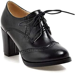 Women's Lace Up Platform Oxford Pump Wingtip Perforated Chunky High Heel Vintage Dress Oxfords Shoes