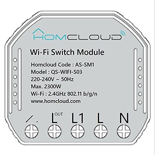 Homcloud Modulo Smart Interruttore Wi-Fi intelligente da incasso per scatola elettrica 503, controllo da APP, Alexa o Google