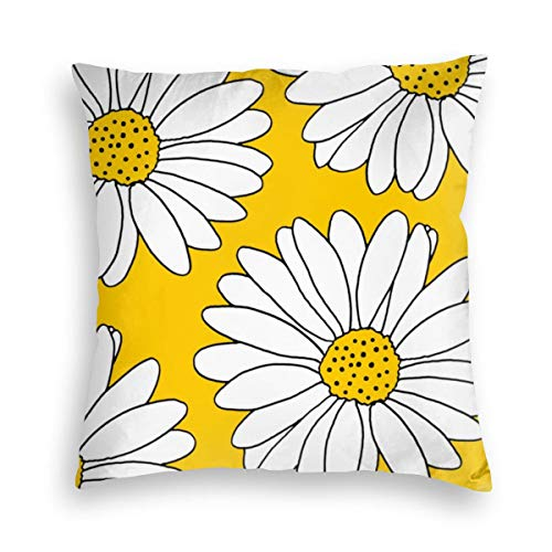 Feamo Yellow And White Daisies Velvet Soft Decorative Square Throw Pillow Covers Cushion Case Pillowcases for Sofa Chair Bedroom Car 18X18inch