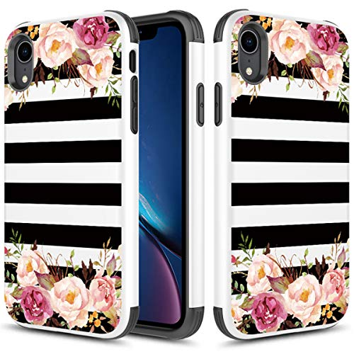 Phonelicious iPhone XR Case Hybrid Dual Layer Tough Rugged Slim Phone Cover(Striped Flowers)