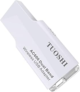 TUOSHI AC600 Dual Band 600Mbps Wireless USB Adapter 5.8GHz/2.4GHz Network Card Mini Design Supports Windows XP,Win Vista,Win 7,Win 8, Win 10,Mac OS X 10.6-10.13