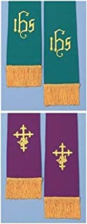 Purple Cross with Crown and Green IHS Reversible Church Stole with Gold-Toned Trim, 19 Inches