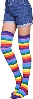 Calcetines Altos Sobre La Rodilla Para Mujer Moda Elástico Rayas Impresión Calcetines Ocasionales
