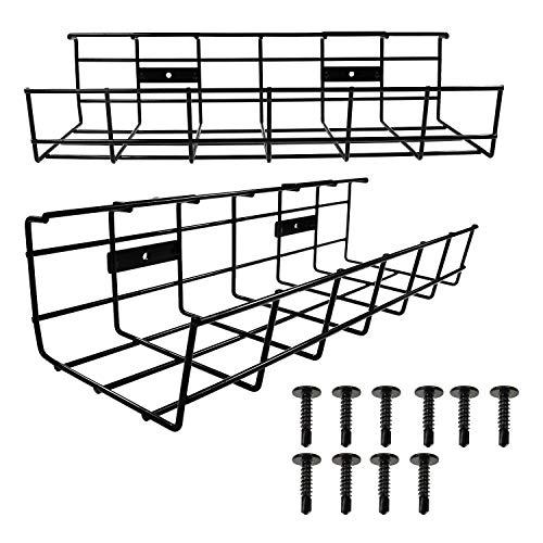 Kabelkanal Schreibtisch, Kabel Management, Kabelhalter für Kabelordnung. Metallene Kabelbox für Büro und Zuhause, 2 Stück